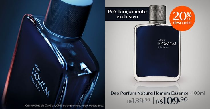 Pré-lançamento Deo Parfum Natura Homem Essence  Compre este pré-lançamento com desconto de 20% em meu espaço da Rede Natura:  de R$ 139,90 por R$ 109,90.
