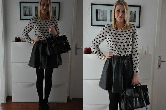 New Yorker Heart Ring, H&M Shirt, H&M Leather Skirt, New Yorker Bag, Primark Necklace, Daichmann  Wedges, Swatch Watch