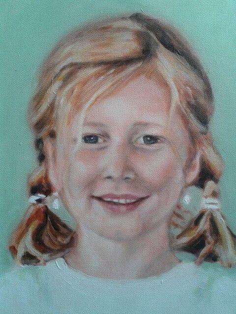 """Acryl portret ♡  """"meisje met gouden haar"""" in herinnering ♡"""