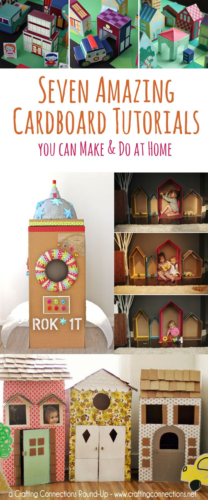 We've rounded up the very best and our personal favorite cardboard structures, houses, rockets, and more - each with a tutorial included, so you and your little ones can try them too! A Round-Up by @CraftingConnections