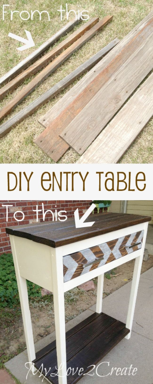 My Love 2 Create uses scrap wood and reclaimed lumber to make a unique and useful one of a kind DIY entry table.