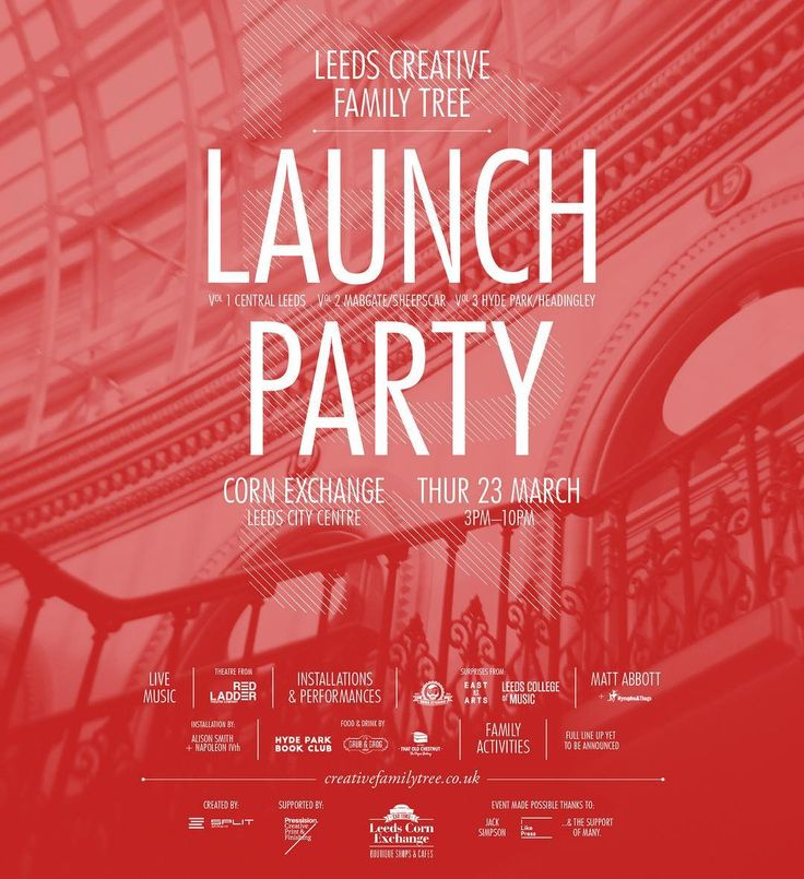Leeds Creative Family Tree are having a launch party at @leedscornex on 23 March and you're all invited. Tickets are FREE but you need to book at creativefamilytree.co.uk #leedsart #leedslife #leeds #pin