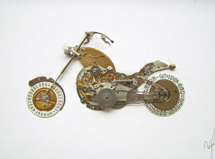 Motor bike picture made from old watch parts