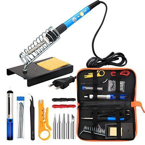 ANBES Fer à Souder kit, Electrique Kit de Soudage avec Sac à Outils, Fer à Souder à température Réglable de 60W,5Pcs Conseils de…