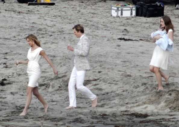 "Gabriel Mann Photos - Stars Emily VanCamp, Joshua Bowman, Christa B. Allen, Nick Wechsler, Margarita Levieva and Gabriel Mann film a beach wedding for their hit show ""Revenge"" on December 17th, 2012 in Redondo Beach, California. - Stars Film A Beach Wedding On Set Of ""Revenge"""