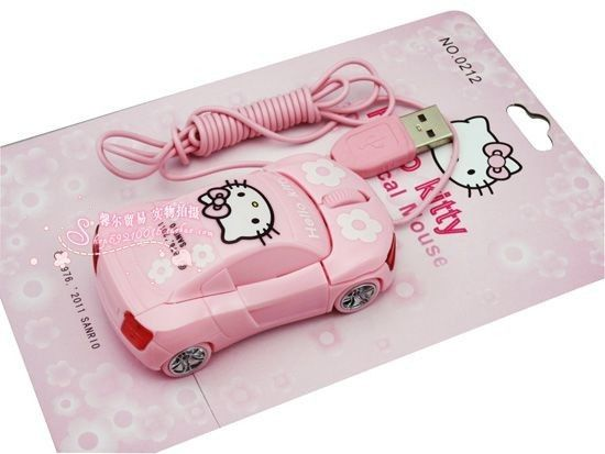 Hello Kitty Car Mouse    Operating system: Windows XP/2000/ME/98SE/98, MacOS, etc.  Optical Resolution: 1200dpi