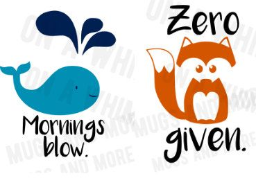 Cartoon animal SVGS for coffee mugs// 'Zero FOX given' & 'Mornings blow' Funny svgs fox svg by OnAwhimMugsNmore on Etsy