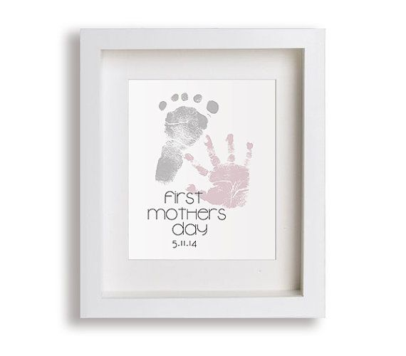 First mothers day art print personalized hand and foot prints gift idea mothers day gift gift for new mom hand print foot print