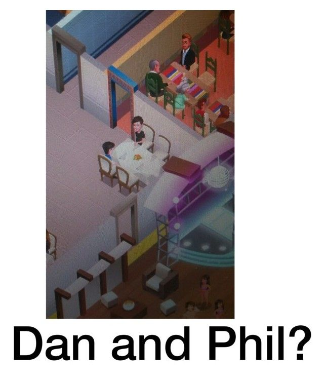 """Don't the characters in my game look like Dan and Phil?"" by lsd-and-halloweencandy ❤ liked on Polyvore featuring art"