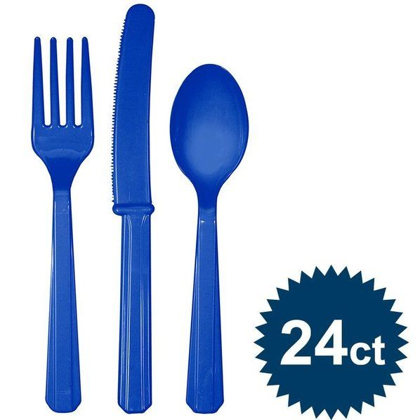 Check out Blue Cutlery Set - Cutlery Party Supplies from Birthday In A Box