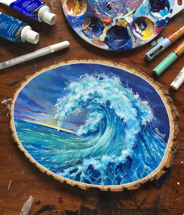 Wave painting on wood.  Artist @megansart_h by art_realisme