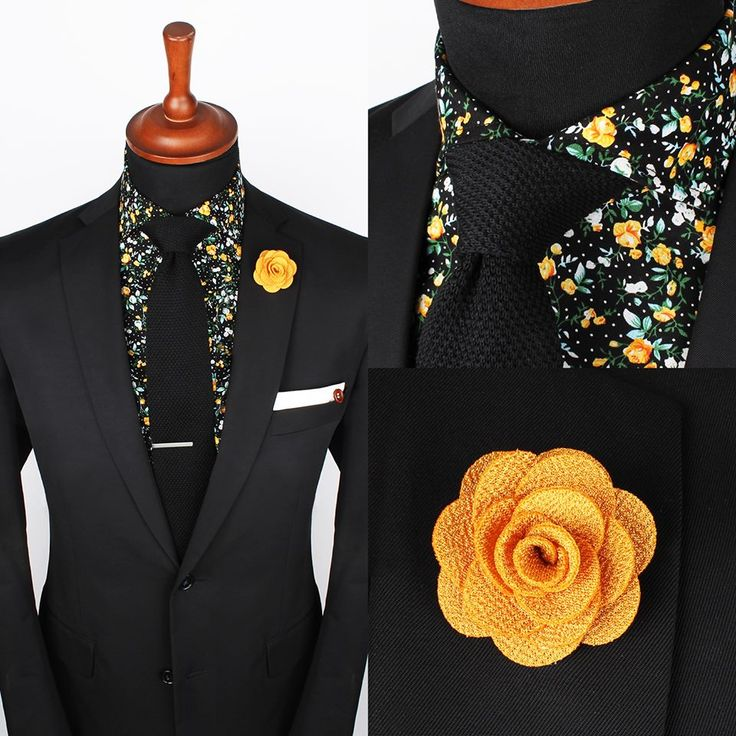 Black suit- floral fun shirt with yellow lapel flower... good look!!