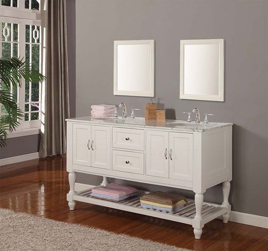 open shelf below is great for extra towels, kids toys in baskets, guest toiletries etc.           Vancouver+(double)+60-Inch+Pearl+White+Transitional+Bathroom+Vanity+With+Top+Option