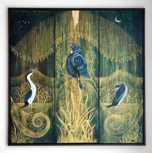 Robin Slow Kura Gallery Maori Art Design New Zealand Aotearoa Painting Ka ngaro reoreo tangata, k?k? e manu unstretched canvaS acrylic gold leaf kokowai