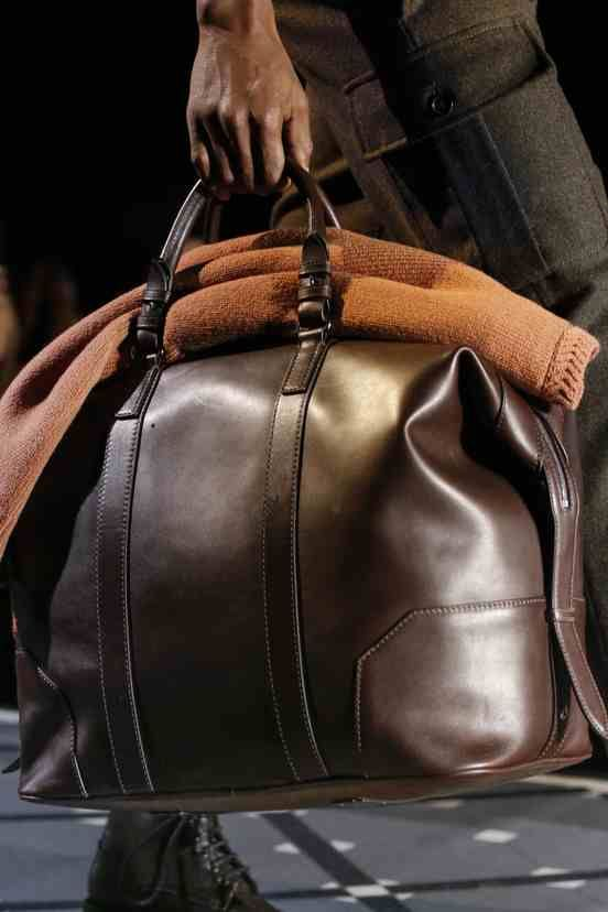 Brown Leather Duffle, DSQUARED2 Autumn/Winter 2013-2014, Men's Fall Winter Fashion.