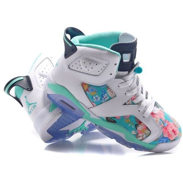 "Womens Air Jordan 6 GS ""Floral"" Custom White/Turquoise For Sale In... ❤ liked on Polyvore featuring shoes, jordans and sneakers"