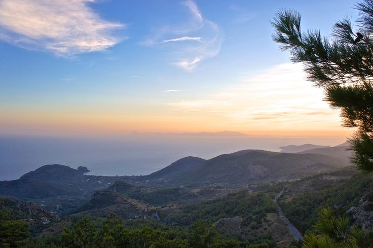 """Nice sunset shot taken from a mountain on the middle of the Datca peninsula. On the left you see the Ovabükü Bay located at the Mesudiye village. Ovabükü Bay is on of the best vacation locations in Turkey.   Look at the guardian's """"Top 10 beaches in Turkey"""" article on www.guardian.co.uk"""
