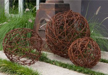 Barbed wire balls - I've actually made some of these, they are great in the garden