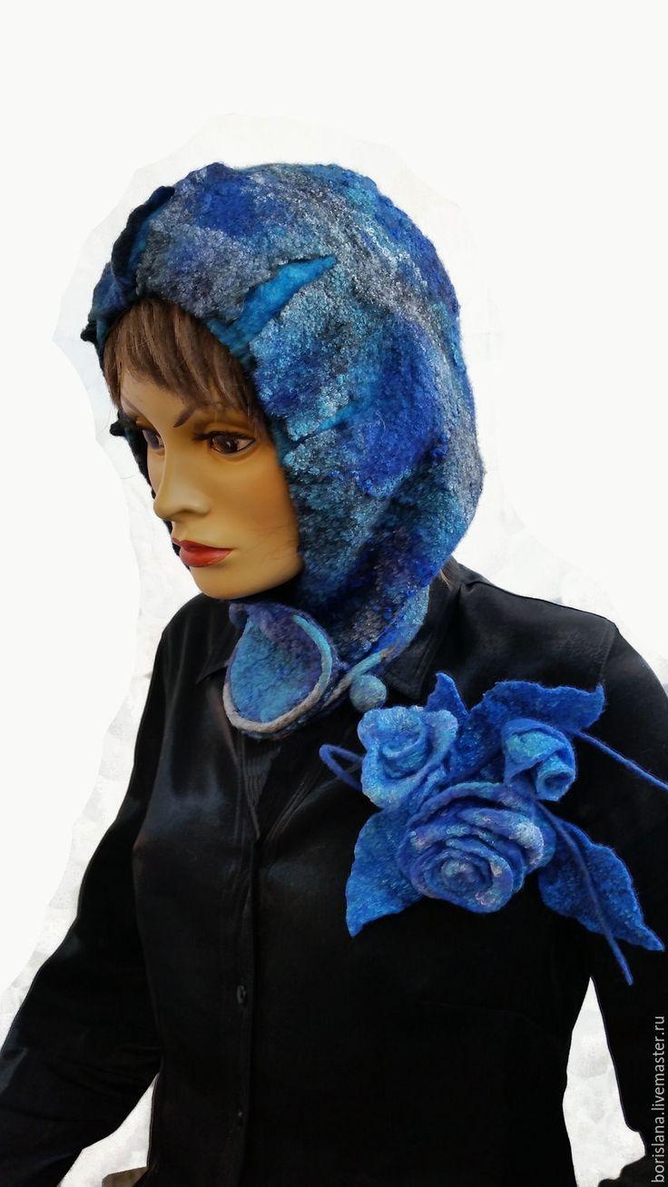 Купить Шапка башлык Синева - синий, шапка теплая, башлык, капюшон, капюшон с ушками