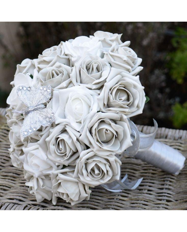 BRIDES BOUQUET SILVER GREY ROSE WEDDING FLOWERS
