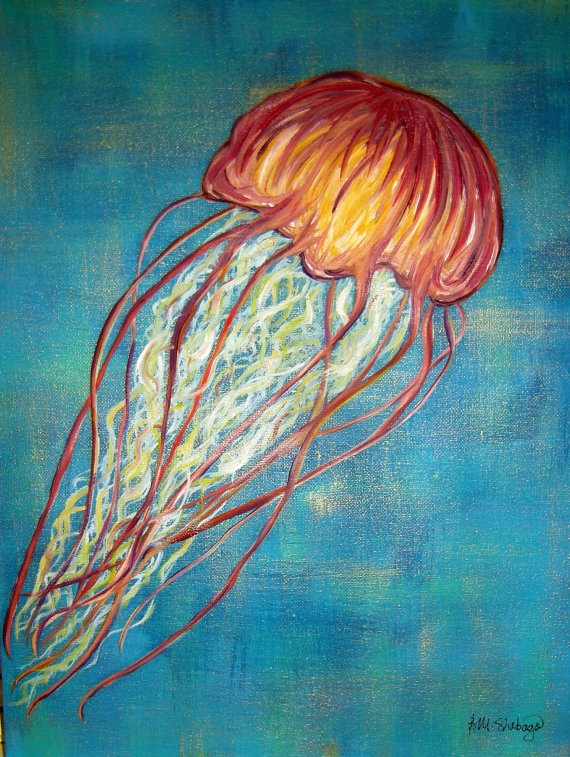 292 best mermaids and ocean creatures images on pinterest for Jelly fish painting