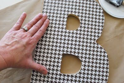 How to modge podge scrapbook paper onto a wooden letter - for alphabet wall in basement