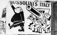 During the Depression, there was great concern about the rise of both Communism and Fascism. Banner, by Australian artist Noel Counihan, depicting anti-Fascist sentiments used in a May Day rally in Lygon Street Carlton near the Victorian Trades Hall Council.. The banner was commissioned by Casa d'Italia, an anti-Fascist organisation created by Italians in Melbourne in 1938.