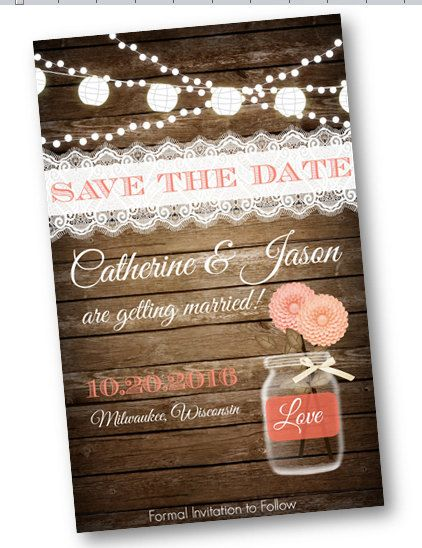 Coral Peach Save the date for rustic wedding with mason jar lace wood and lights