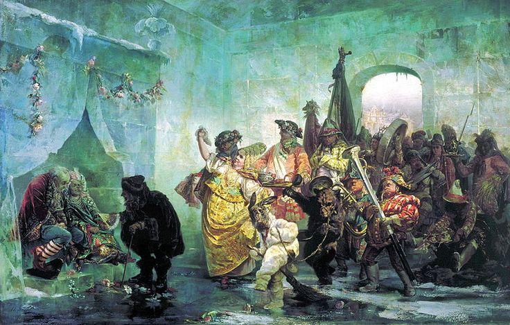 Valery Ivanovich Jacobi (1834-1902) Ice House.Ледяной дом (Свадьба в Ледяном доме),1878,oil on canvas,133.5×216cm,State Russian Museum.
