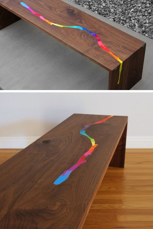 f3250160eb4e Artisan Chris Salomone created a crayon inlaid table inspired by trendy  epoxy resin river tables.