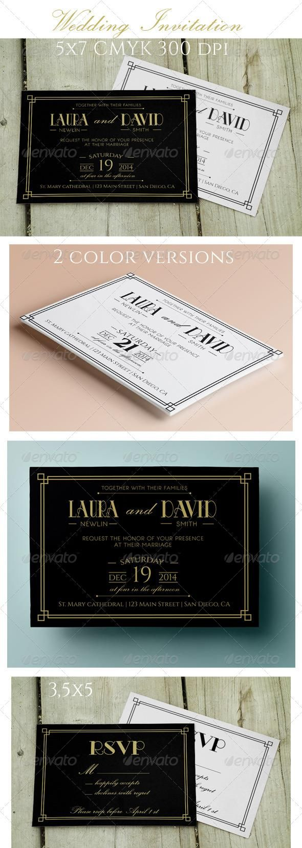 wedding invitation design psd%0A Wedding Invitation and RSVP  template  cards  print  invites