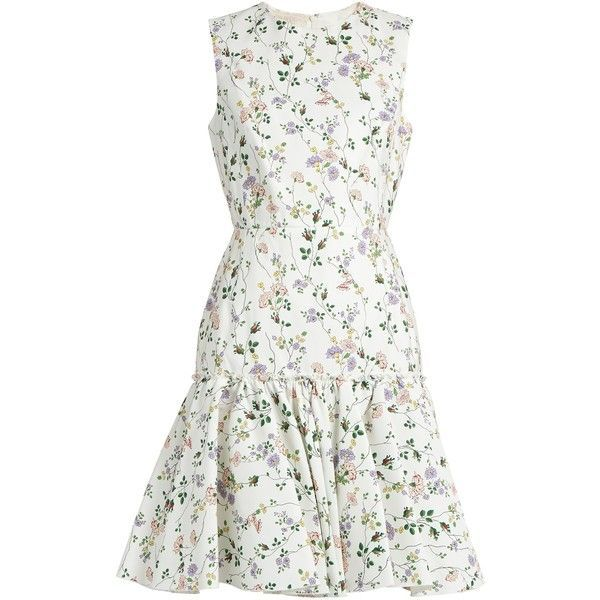 Giambattista Valli Floral-print sleeveless faille dress (£915) ❤ liked on Polyvore featuring dresses, vestidos, white print, garden party dress, ruffled dresses, floral pattern dress, white sleeveless dress and white dresses