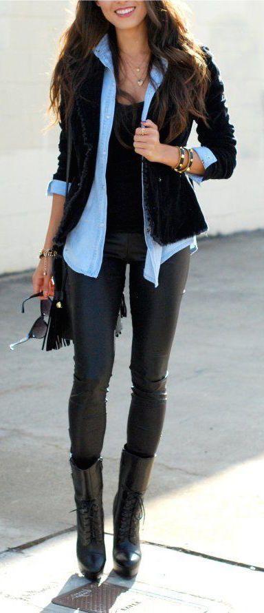#fashion #fall / todo camisa de mezclilla negro +                                                                                                                                                     Más
