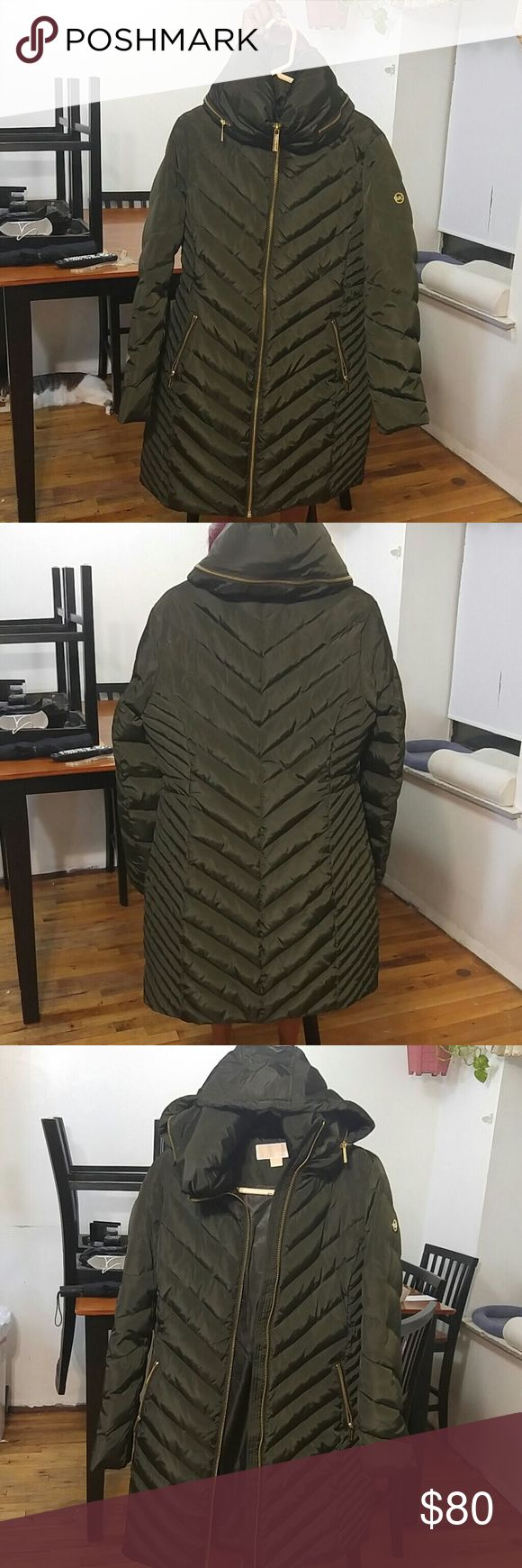 Michael Kors Puffer coat Olive puffer coat stops above the knee , gold zippers, hood with in the neck. Must sell by and of October Michael Kors Jackets & Coats Puffers