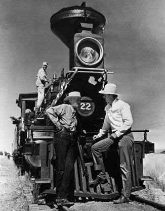 Director Howard Hawks shares a moment with John Wayne on set in 1948. Wayne starred in five of Hawks' films: 'Red River', 'Rio Bravo', 'Hatari!', 'El Dorado' and 'Rio Lobo'. (© Bettmann/CORBIS)