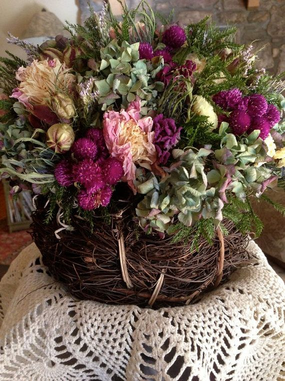 Dried Flower Arrangement Rustic Love For Baskets Pinterest Flowers And Arrangements