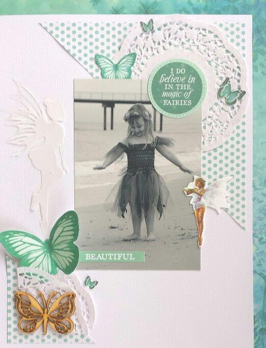 Kaisercraft : Fairy Dust collection : Beautiful layout by Amanda Baldwin