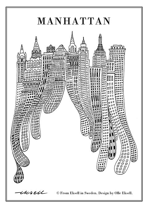 manhattan, olle eksell, eksell, new york, art print, poster
