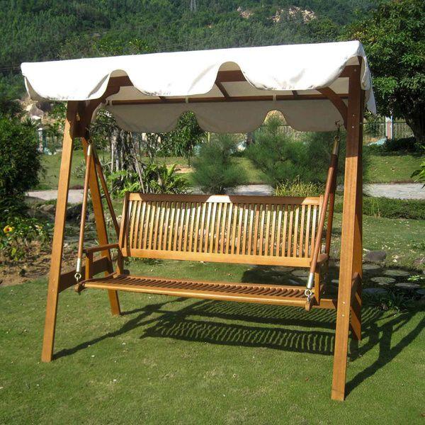 International Caravan Royal Tahiti 3-seater Outdoor Swing with Canopy