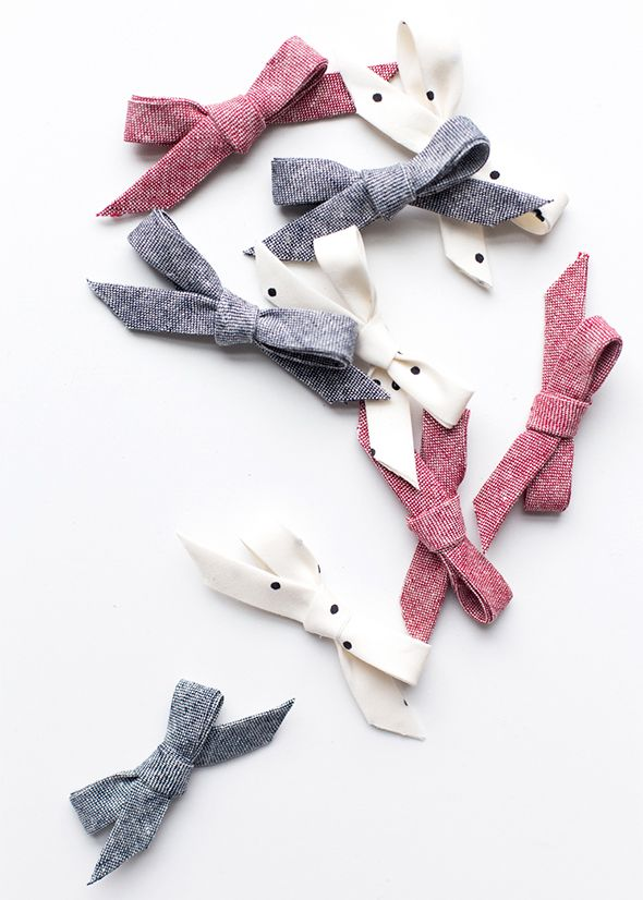 DIY baby bow clips from bias tape
