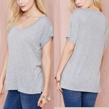 Blank loose scoop neck fitted t shirts in women tshirts  best buy follow this link http://shopingayo.space