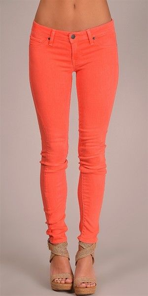 love the color!: Coral Jeans, Coral Pants, Color, Dream Closet, Coral Skinny Jeans, Clothess, Outfit, Spring Summer, Nude Wedges