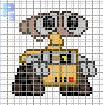 Wall-E perler pattern - Patrones Beads / Plantillas para Hama/ cross stitch
