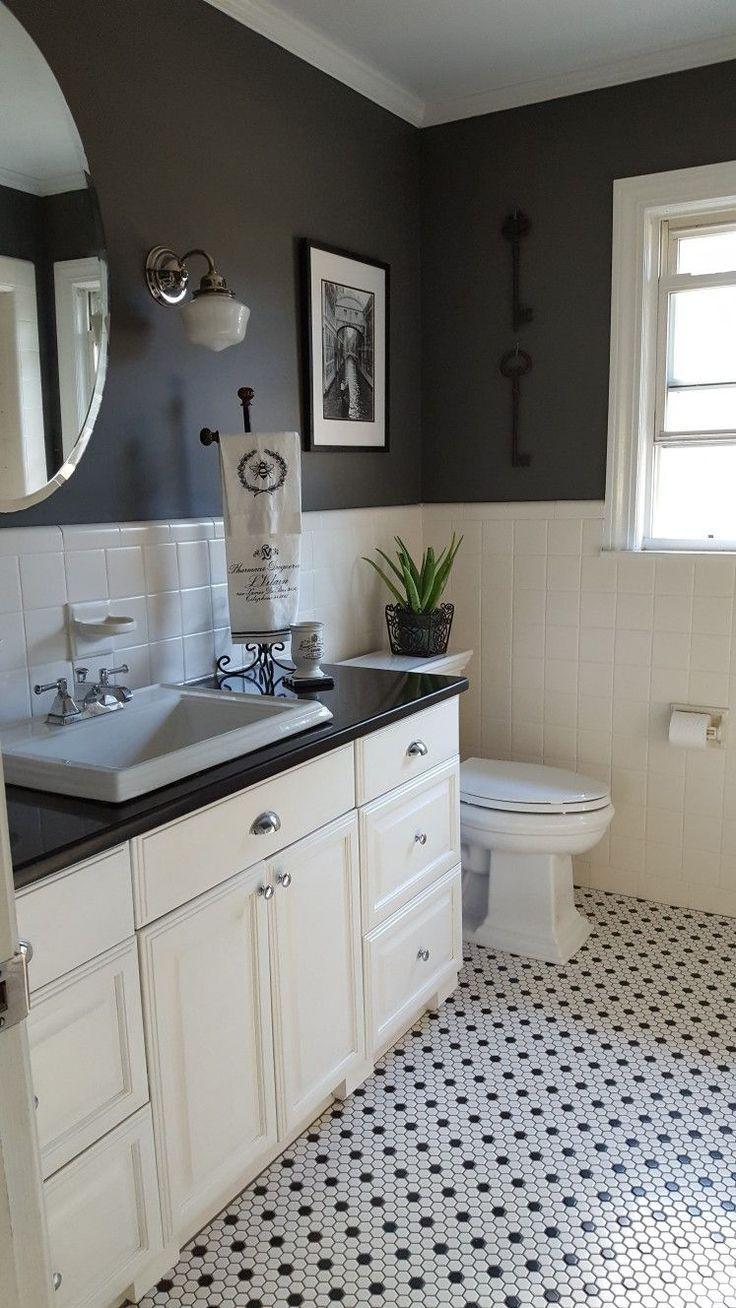 Mosaic Tile Floor Ideas For Vintage Style Bathrooms Interior Design Ideas Home Decorating Inspiration Moercar Black And White Tiles Bathroom Gray And White Bathroom Bathroom Styling
