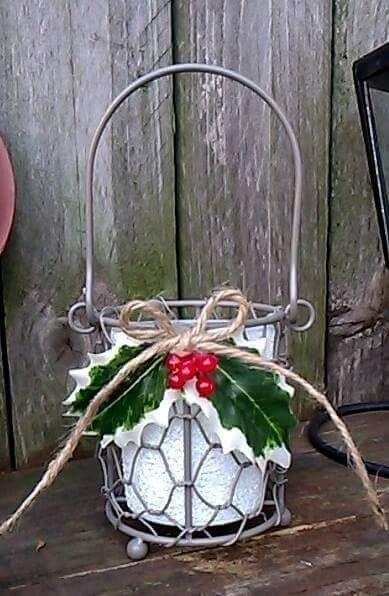 Repurposed glass jar into a tea light holder