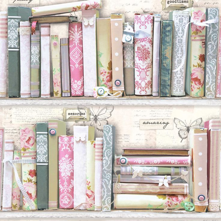 £8 5011583212167 Pink Collage Bookcase Wallpaper | Departments | DIY at B&Q