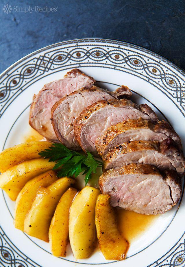 Pork Tenderloin with Apples ~ An easy, tender, succulent pork tenderloin recipe. With sliced apples. ~ SimplyRecipes.com