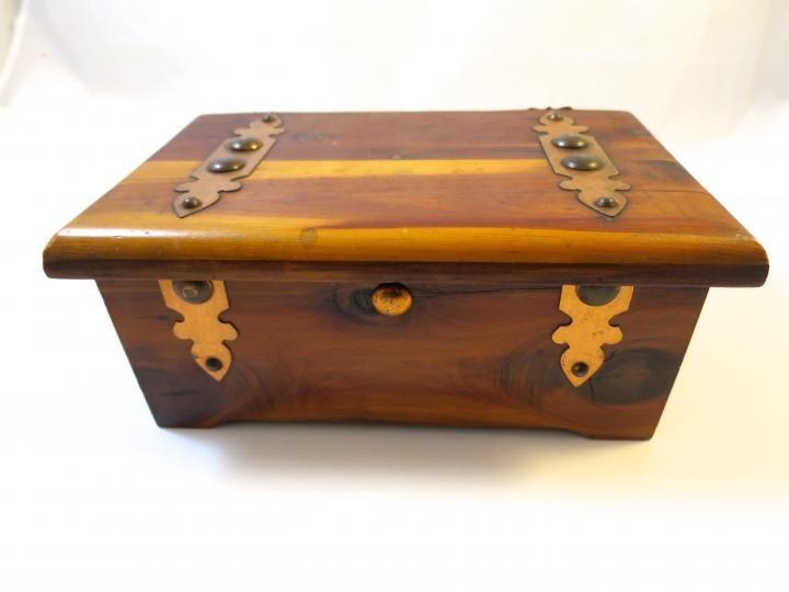 Antique Cedar Box Copper Brass Decorations Craftsman 1930's Grad Mementos Jewelry Keepsake Display Wood Collectors Box Desk Accessory https://www.etsy.com/listing/274110820/a...
