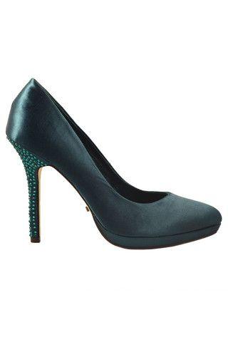 Menbur, Platform stiletto heel, Stiletto decorated, Dark Green Satin - The WHYTE House