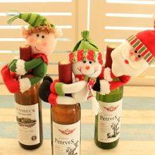 3 Pçs/set Xmas Papai Noel enfeites de natal Vermelho de alta qualidade Tampa de Garrafa de Vinho Sacos de navidad decoração de Mesa de Jantar de natal(China)